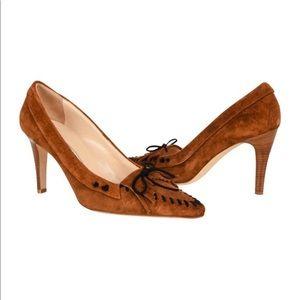 Manolo Blahnik 37 Brown Suede Moccasin High Heels